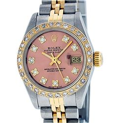 Rolex Ladies 2 Tone Salmon Diamond Oyster Perpetual Datejust Wristwatch