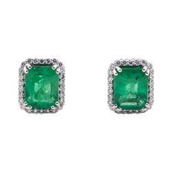 3.71 ctw Emerald and Diamond Earrings - Platinum