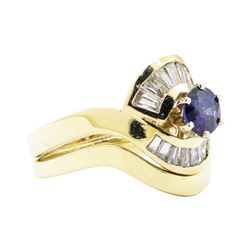 1.37 ctw Sapphire And Diamond Ring And Band - 14KT Yellow Gold