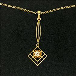 14k Gold Cushion Mine Cut Diamond Lavalier Pendant