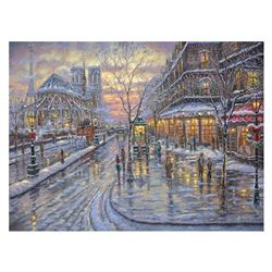 """Robert Finale, """"Christmas In Paris"""" Hand Signed, Artist Embellished AP Limited E"""