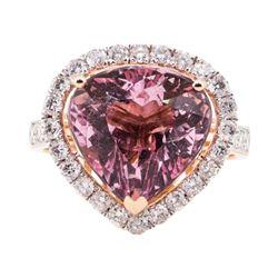 6.61 ctw Morganite and Diamond ring - 14KT Rose Gold
