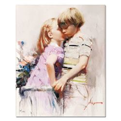 """Pino (1939-2010), """"The Kiss"""" Artist Embellished Limited Edition on Canvas, Numbe"""