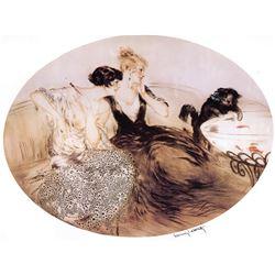 Louis Icart  - Deux Filles & La Chat