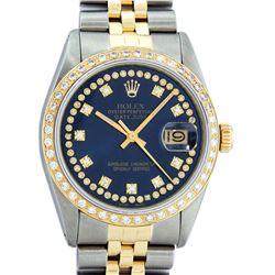 Rolex Mens 2 Tone Blue String VS Diamond Datejust Wristwatch Oyster Perpetual