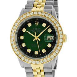 Rolex Mens 2 Tone 18K Green Vignette 2.5 ctw Diamond Datejust Wristwatch 36MM