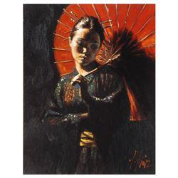 "Fabian Perez, ""Geisha III"" Hand Textured Limited Edition Giclee on Board. Hand S"