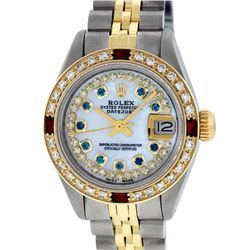Rolex Ladies 2 Tone MOP Sapphire & Ruby 26MM Oyster Perpetual Datejust Wriswatch
