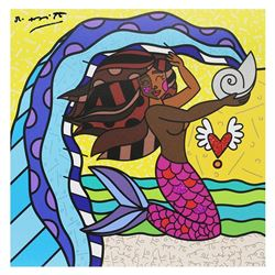 """Britto, """"Aquarius Black"""" Hand Signed Limited Edition Giclee on Canvas; Authentic"""