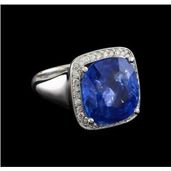 GIA Cert 13.93 ctw Blue Sapphire and Diamond Ring - 14KT White Gold