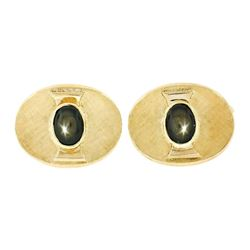 Vintage Men's 18kt Gold Oval Brown Star Sapphire Florentine Cuff Links