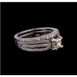 1.40 ctw Diamond Wedding Ring Set - 14KT White Gold