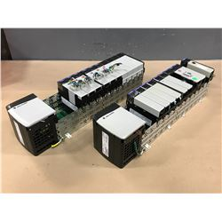 (2) ALLEN BRADLEY 1756-A13/B 13 SLOT CHASSIS W/ MODULES