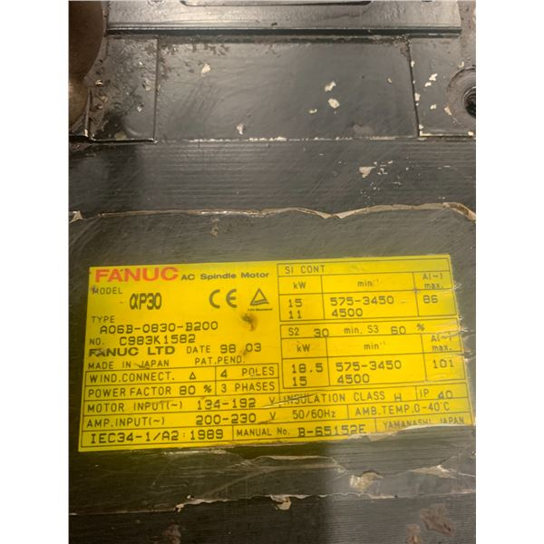 (2) - FANUC A06B-0830-B200 AC SPINDLE MOTORS