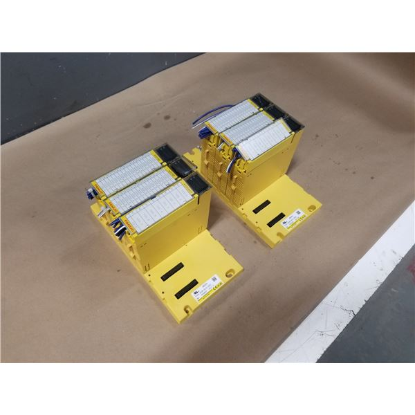 "(2) FANUC A03B-0819-C002 (ABU05A) ""5 SLOT"" I/O MODULE BASE W/ MODULES *SEE PICS FOR DETAILS*"