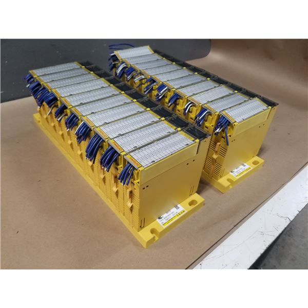 "(2) FANUC A03B-0819-C001 (ABU10A) ""10 SLOT"" I/O MODULE BASE W/ MODULES *SEE PICS FOR DETAILS*"