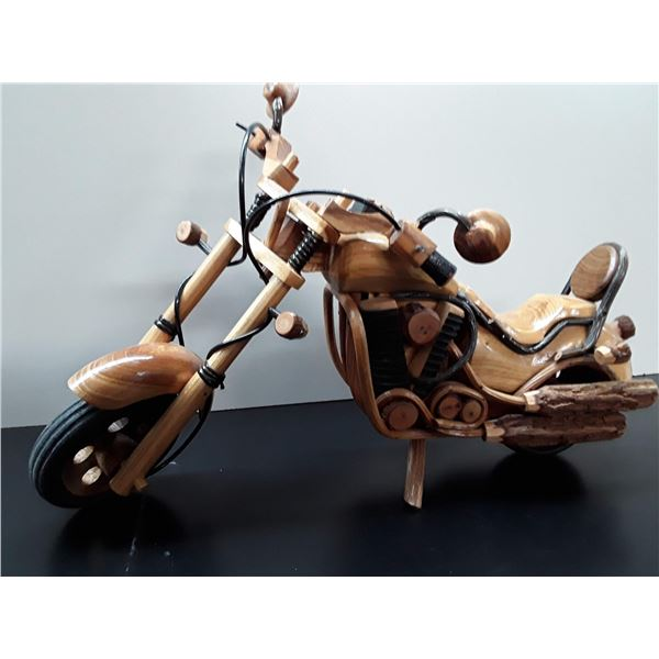 Wood Sculpture of Motorcycle