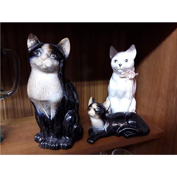 3 Cat Figurines
