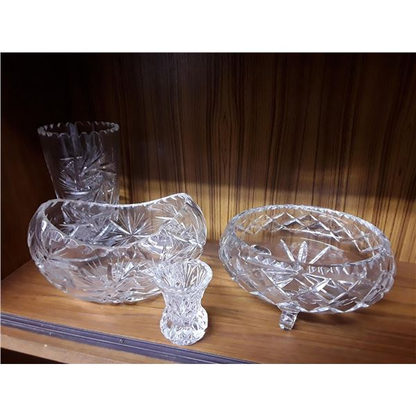 lot of Pinwheel & Crystal Vases & Candy Dishes