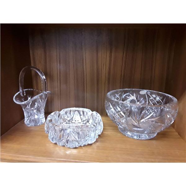 Pinwheel Crystal Basket + 2 Candy Dishes