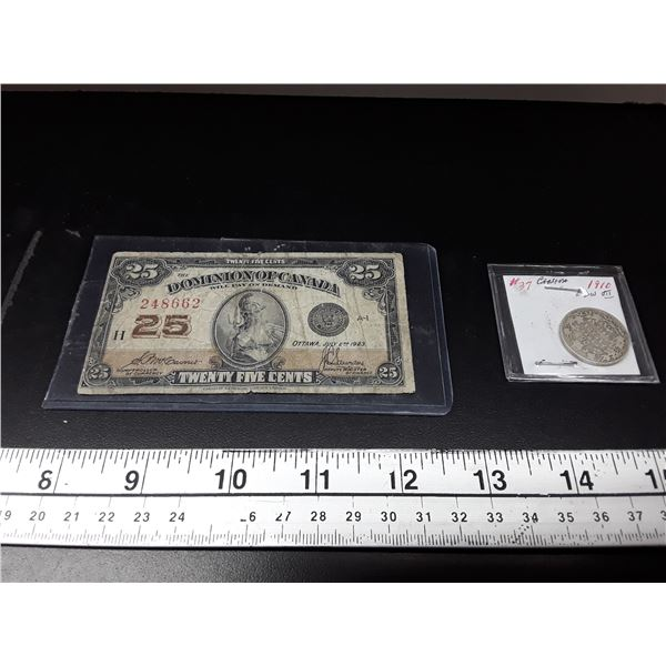 Dominion of Canada Bank 25 Cent Bank Note and 1910 25 cent coin