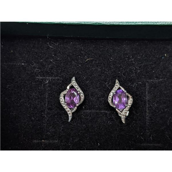 1-1/3 Carat Amethyst and Diamond 925 Sterling Silver Earrings With Certificate of Authenticity