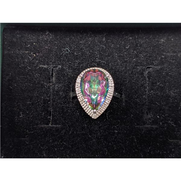 Large 5-1/2 Carat Mystic Topaz and Diamond 925 Sterling Silver Ring With Certificate of Authenticity