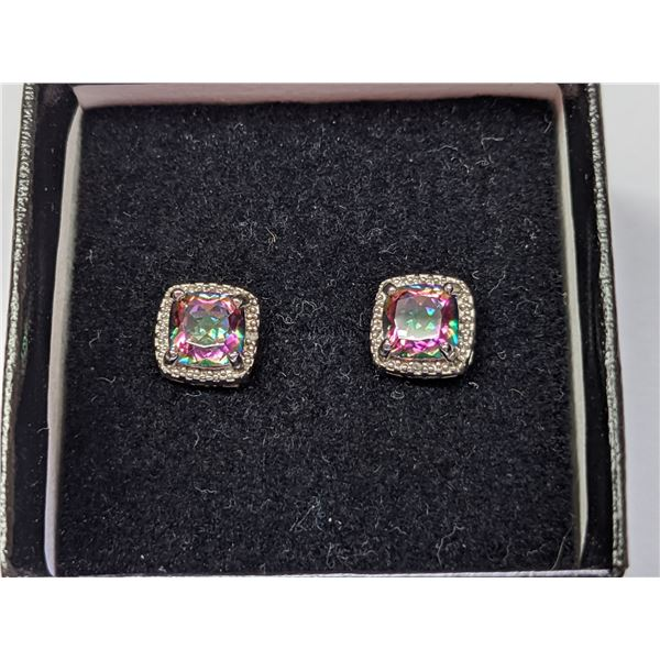 Mystic Topaz and Diamond 925 Sterling Silver Earrings