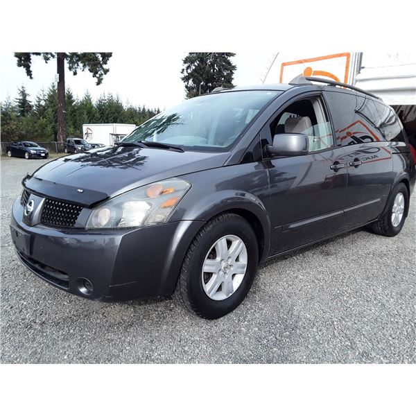 "A12F --  2004 NISSAN QUEST S  , Grey , 217223  KM's  ""NO RESERVE"""