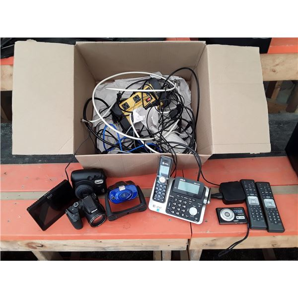 Lot of Electronics inc Cordless Tel, 3 Cameras, AZUS, and More