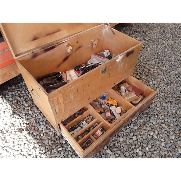 Wood Tool Box with Misc Workshop Items