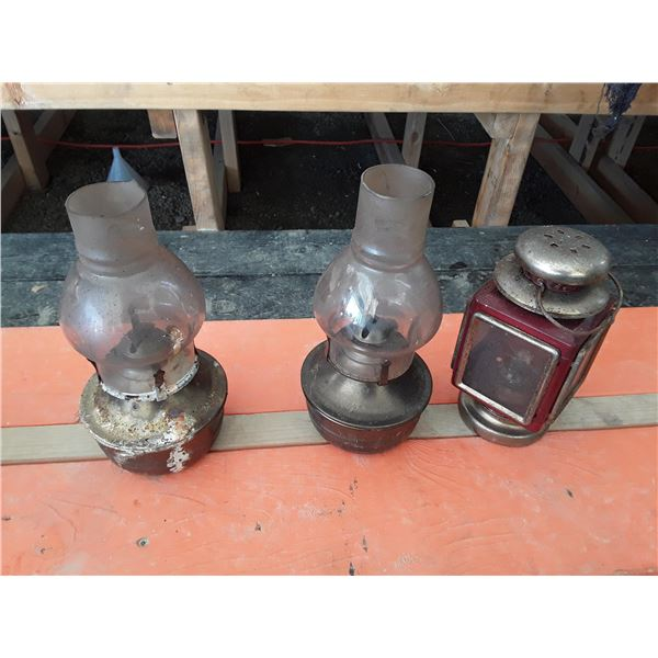 Lot of Three Oil Lamps