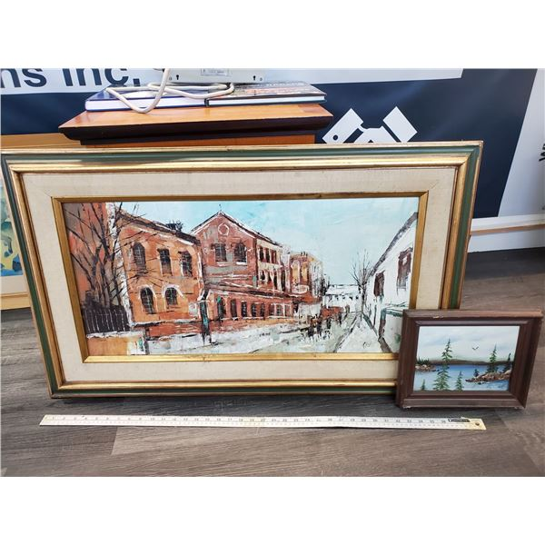 1 Large Painting of town & 1 Small Painting