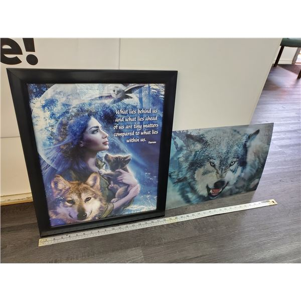 1 Print of Wolf & 1 3D Picture of Wolf
