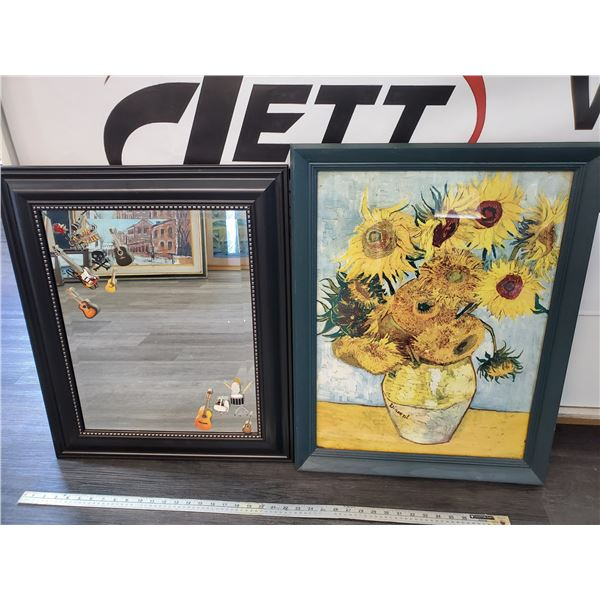 1 Mirror & Picture of Sunflowers