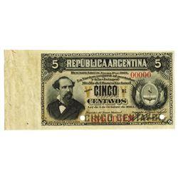 Banco Nacional. 1884. Specimen Banknote.