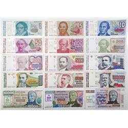Banco Central de la Republica Argentina. 1985-1991. Lot of 15 Issued Notes.