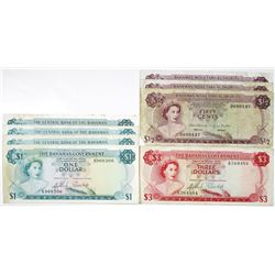 Large Group of Issued Bahamas Banknotes, 1965