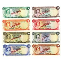 Bahamas Government and Bahamas Monetary Authority. 1965-1968. Lot of 8 Specimen Notes.