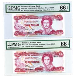 Central Bank of the Bahamas, 1974, Pair of Issued Notes