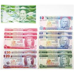 Central Bank of Barbados, Group of Issued Notes 1973-2012