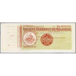 Societe Generale de Belgique Specimen Check by Bradbury Wilkinson.