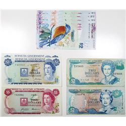 Large Group of Bermuda Issued Banknotes, 1970-2009