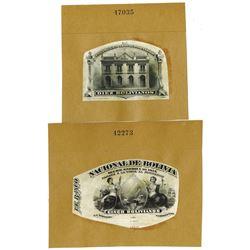 Banco Nacional De Bolivia, 1877 Obverse Vignette Proofs for 5 and 10 Bolivianos Notes.