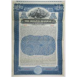 Bolivia Railway Co., 1907 Specimen Bond Rarity