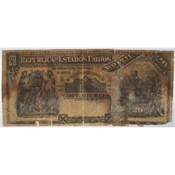 Republica dos Estados Unidos Brazil, Est. 8A, (1892) Contemporary Counterfeit Issued Banknote from A
