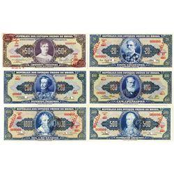 Republica dos Estados Unidos do Brasil. ND (1961-1967). Lot of 6 Specimen Notes.