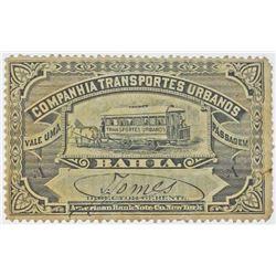 Companhia Transportes Urbanos, 1880-90's Streetcar Ticket - Scrip Note.