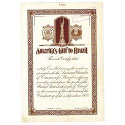 America's Gift to Brazil 1922 ABNC Specimen Chamber of Commerce Certificate