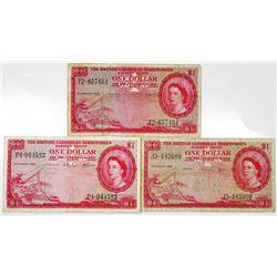 British Caribbean Territories Trio of Issued Notes, 1956-1964